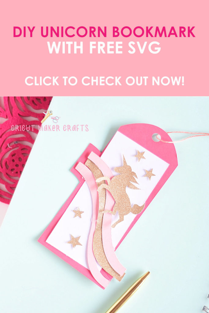 Unicorn paper bookmark with rainbows and stars, made with Cricut Maker