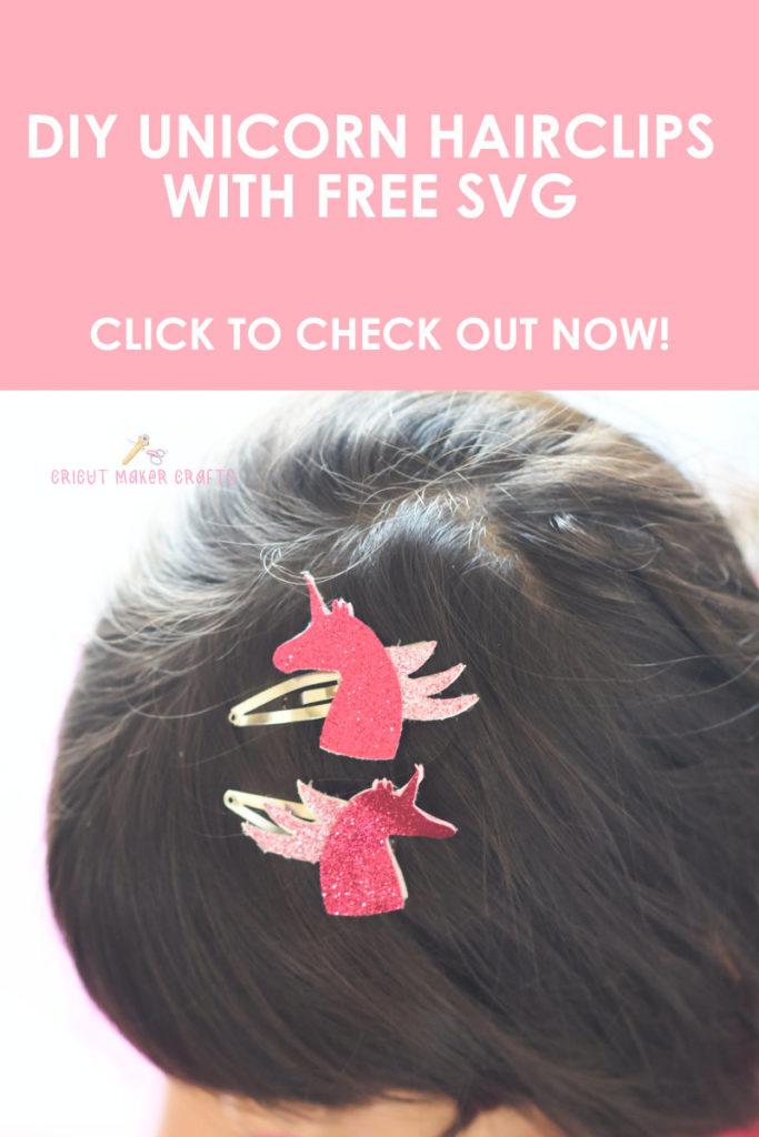 Cute unicorn hairclips on little girl's hair made with Cricut.