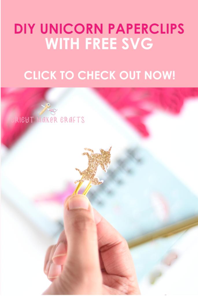 Unicorn paper clips cut with Cricut Maker