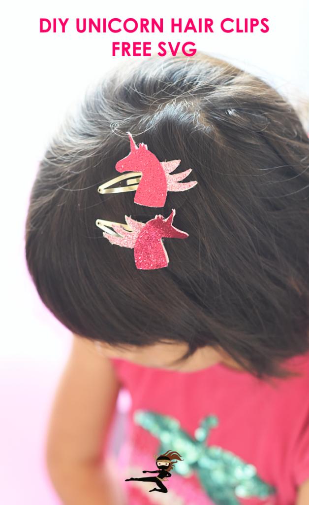 DIY unicorn hair clips - beginner Cricut project with FREE SVG.