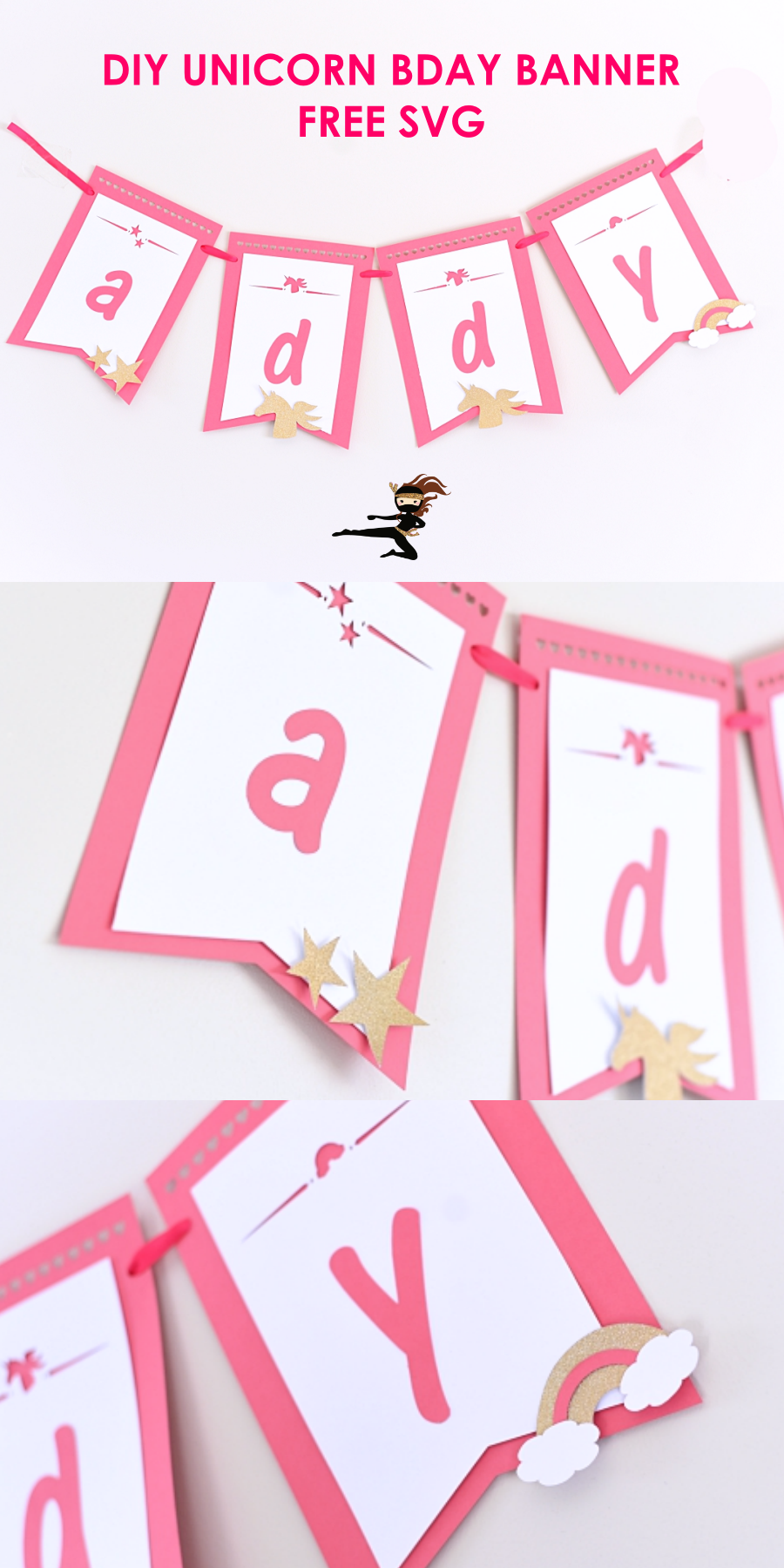 Learn to make your very own Unicorn birthday banner with a FREE SVG file. This is a great beginner Cricut project for birthdays.