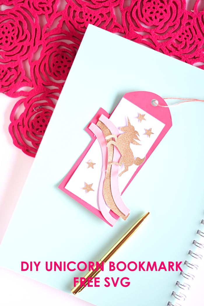 DIY unicorn bookmark with free SVG file for beginners. This is a great beginner Cricut project.