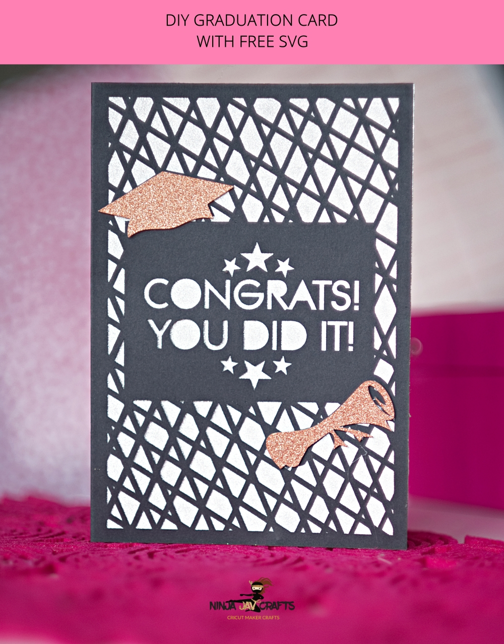 Click for FREE Graduation Card SVG File + Tutorial for a special Graduation themed card with a gift card pocket.