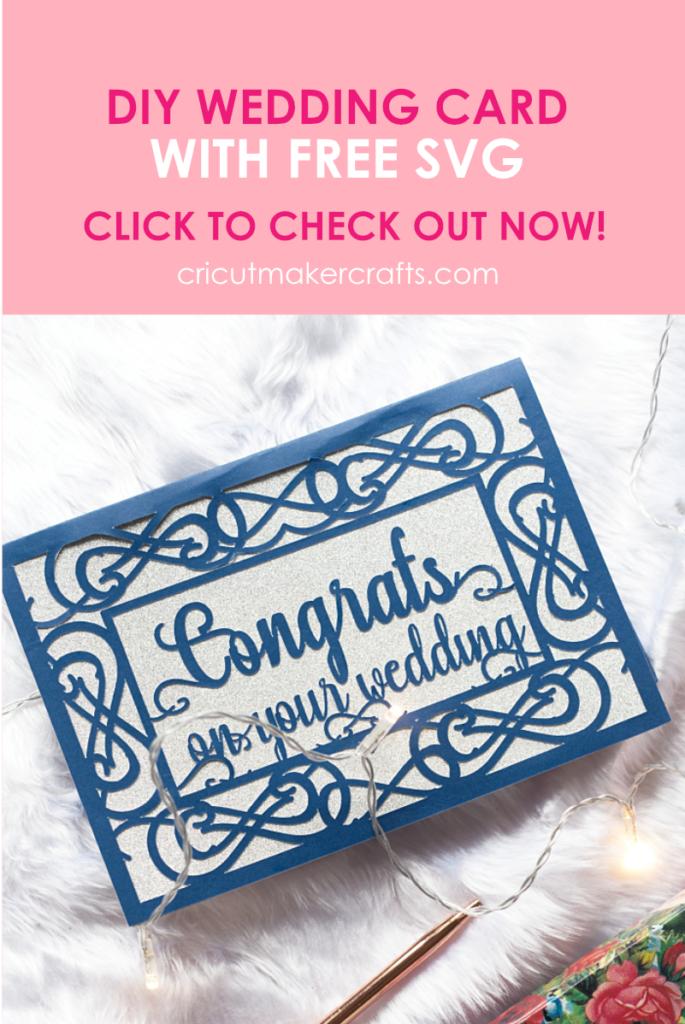 Paper wedding themed card saying congrats on your wedding. Cut using Cricut