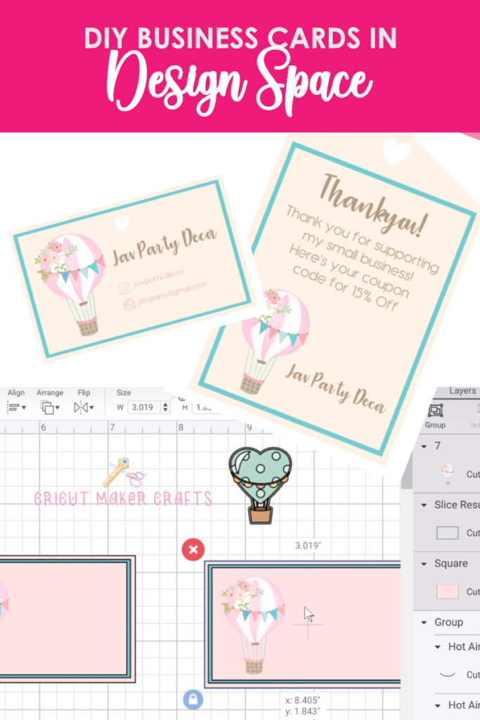 Image of business cards along with design space showing how to create the business cards