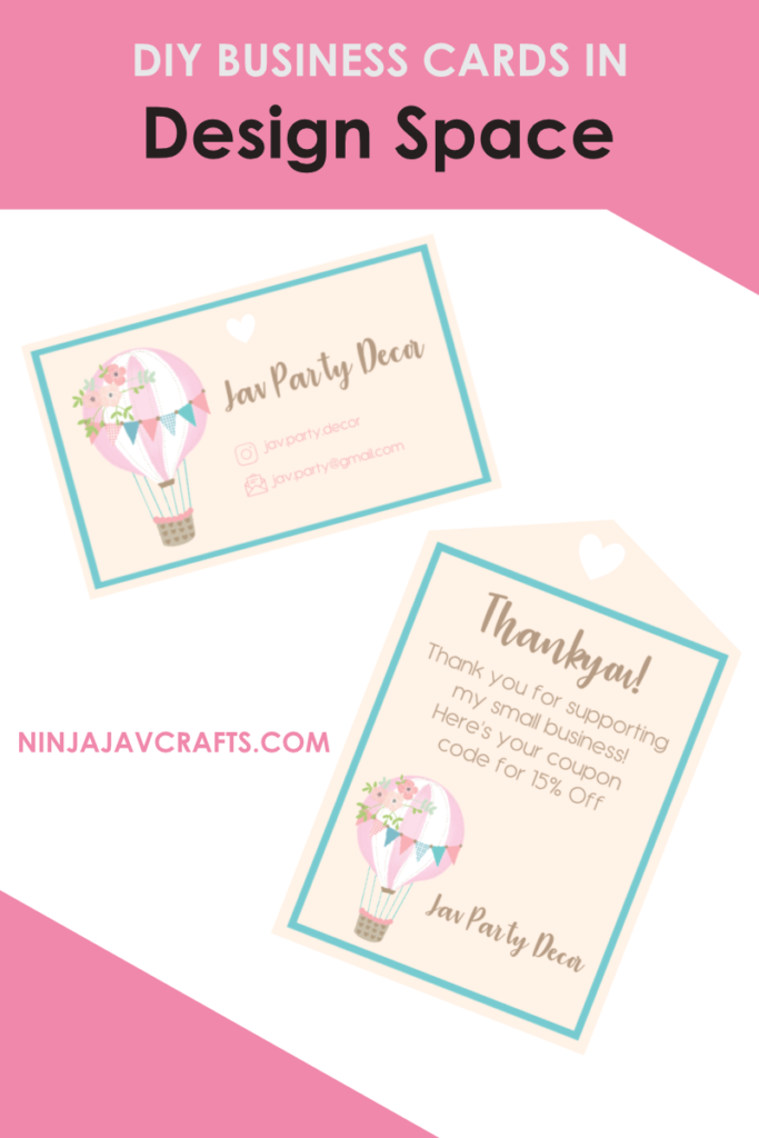 how to make business cards in design space using Cricut maker and explore air 2
