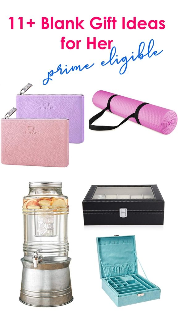 Blank gift ideas to personalize with Cricut; leather coin purse, yoga mat, water dispenser, watch box, jewelry box