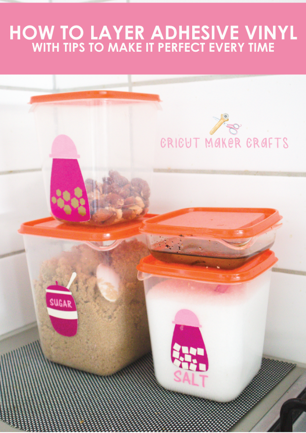 In this post, you'll learn how to layer vinyl by creating registration marks in Cricut Design Space in 5 simple and easy steps. Also covered in this post: how to make multi-layer vinyl decals and how to assemble a four-layer decal and how to seal vinyl on cups and utensils.