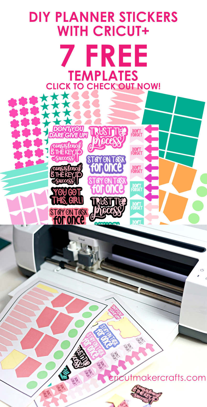 Free planner sticker templates to use with Cricut, Cricut maker and planner stickers printed and cut using Cricut