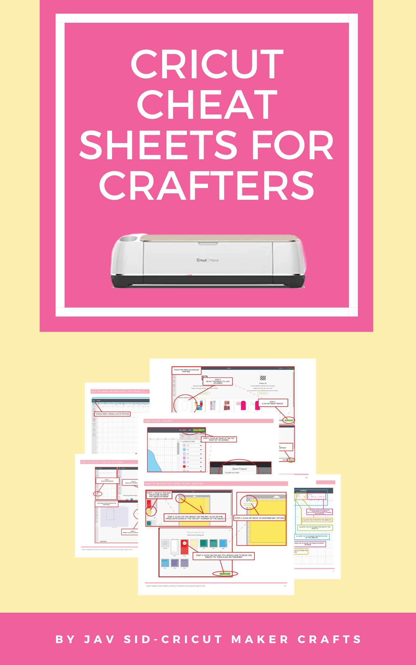 This is an image for the Cricut cheat sheets for cricut crafters by cricut maker crafts