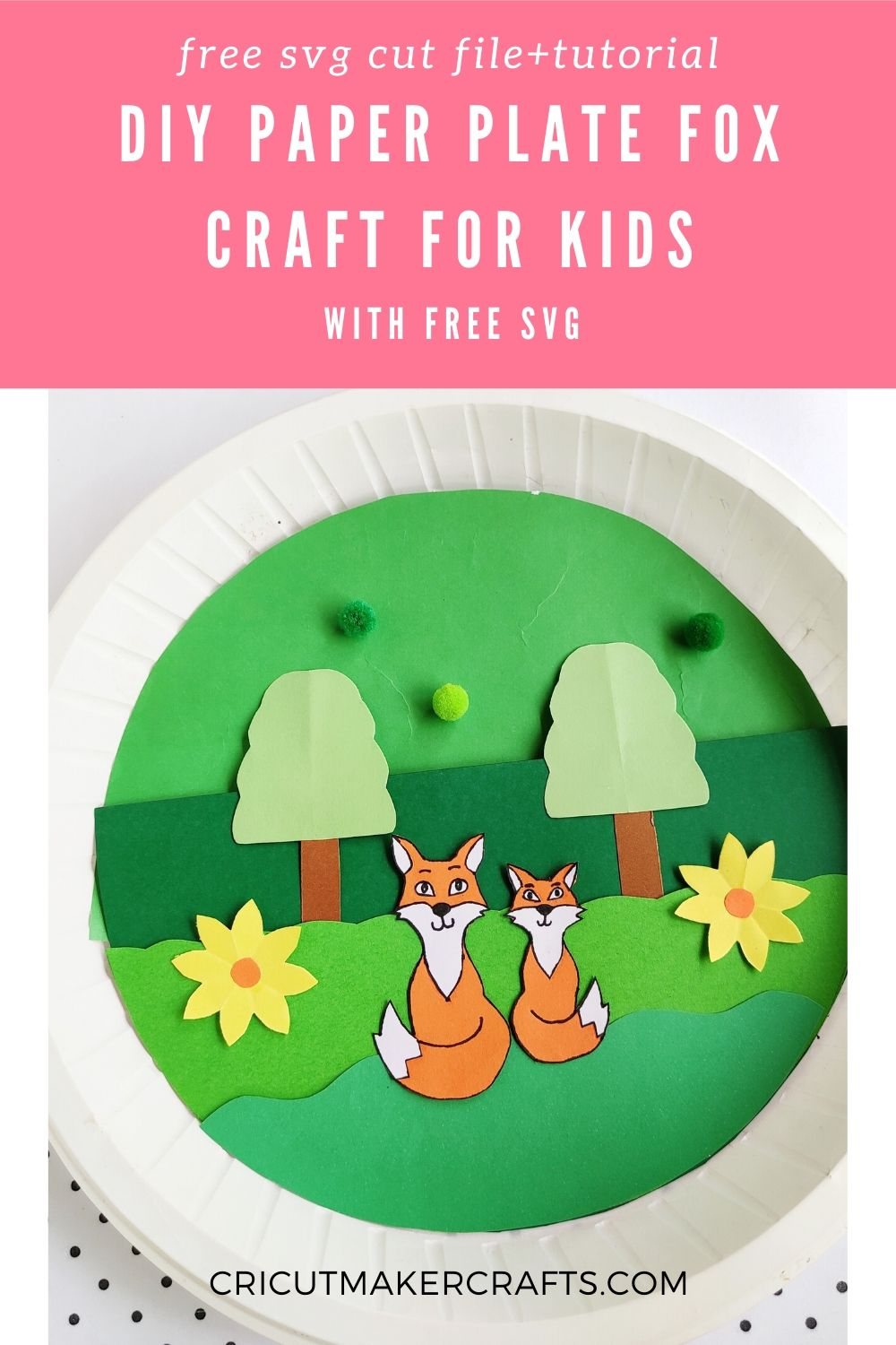 Paper trees, fox and flowers on a paper plate