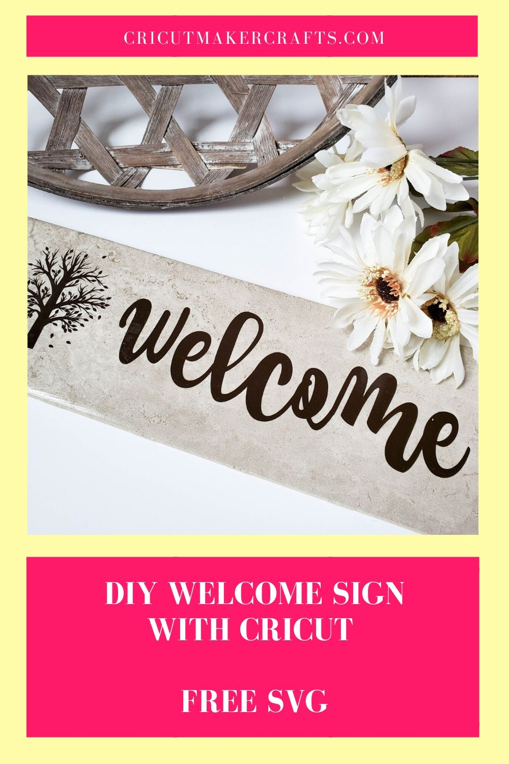 Download DIY Welcome Tile with Cricut FREE SVG - Cut N Make Crafts