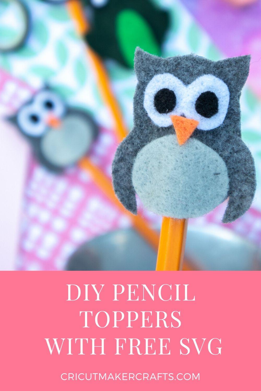 owl felt pencil topper
