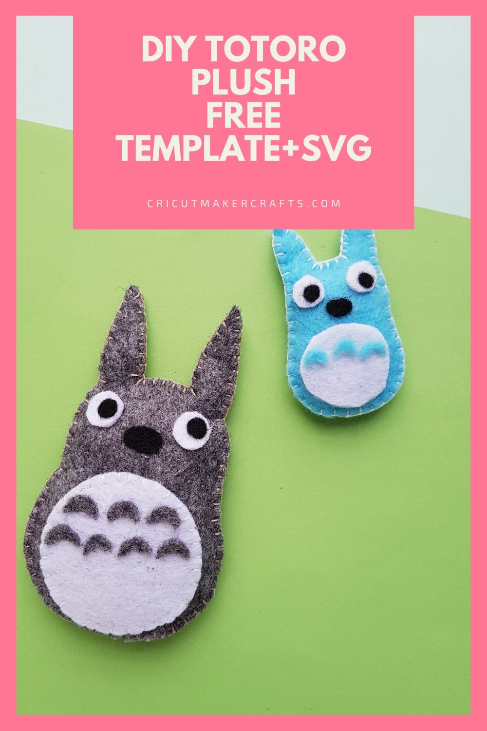 Two totoros, one grey totoro one blue small totoro
